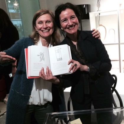 Ayse at the MoMA launch of her book Design the Life You Love! With Nadine Frenette.